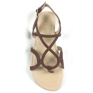 Criss Cross Cognac Brown Braided Thong Sandal